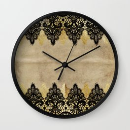 Elegance- Ornament black and gold lace on grunge paper backround Wall Clock