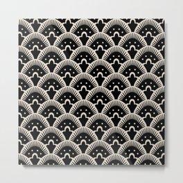 Fan Pattern Black and Linen White Metal Print