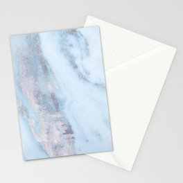 Light Blue Gray Marble Stationery Cards