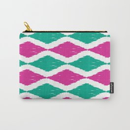 Summer Jumbo Zoom Scale Ikat Print in Magenta and Turquoise Carry-All Pouch