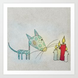 A Small Creature and a Candle Art Print