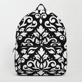 Scroll Damask Large Pattern White on Black Backpack