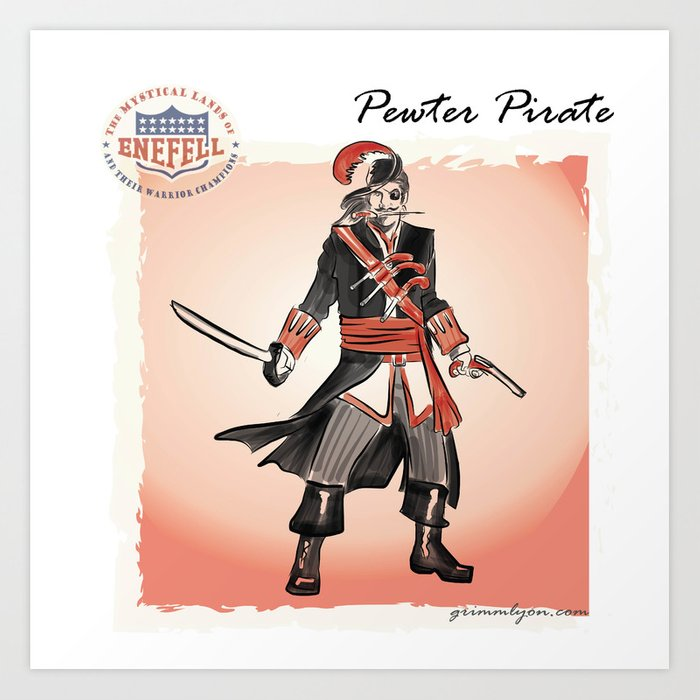 Pewter Pirate of the Buccaneer Coast Art Print