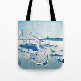 Haku the dragon japanese vintage woodblock mashup Tote Bag