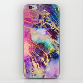 Modern gold marble on pastel pink purple watercolor nebula paint iPhone Skin