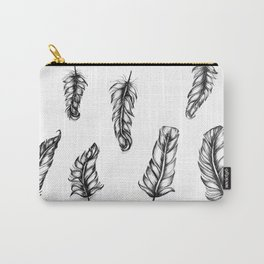 Inked Feather Pattern Carry-All Pouch