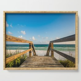 Head to the Beach - Boardwalk Leads to Summer Fun in Florida Serving Tray
