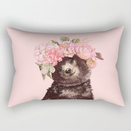Baby Bear with Flowers Crown Rectangular Pillow