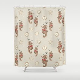 Seahorse Reindeer and Holiday Cookies Shower Curtain