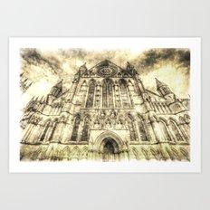 York Minster Cathedral Vintage Art Print