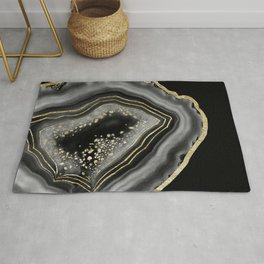 Black Night Agate Gold Foil Glam #2 #gem #decor #art #society6 Rug
