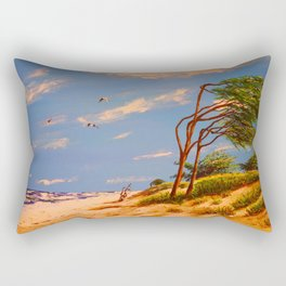 Painting, Acrylic, By The Sea, Beach, Water, Gulls. Vintage. Retro. Illustration.  Rectangular Pillow