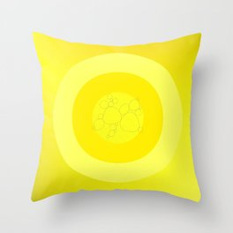 Yellow Ornament Cricle Throw Pillow