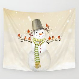 Snowman and Birds Wall Tapestry