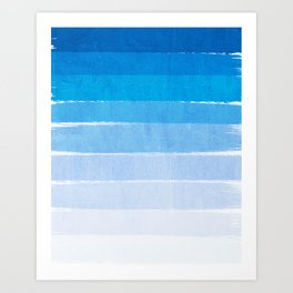Blue Ombre Brushstroke - Summer, Beach, Ocean, Water, LA Cute trendy, painterly art Art Print