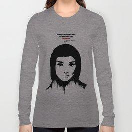 Audrey Hepburn art design ( black and white)  Long Sleeve T-shirt