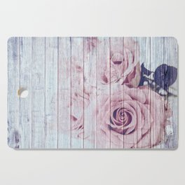 Vintage Shabby Chic Dusky Pink Roses On Wood Background Cutting Board