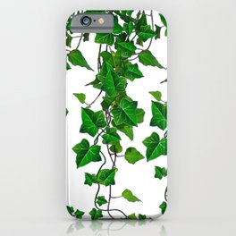 TRAILING VERDANT GREEN IVY LEAVES & VINES ON WHITE iPhone Case