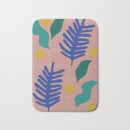 Tropical Blue Palm Cut-Out Bath Mat