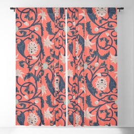 Oriental Lotus Pattern In Coral Pink Blackout Curtain