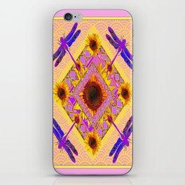 Purple Dragonflies Pink-Yellow Sunflower Abstracted Garden iPhone Skin