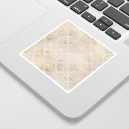 Elegant Cream and Gold Diamond Damask Sticker