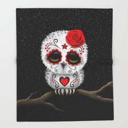 9e8492dea Adorable Red Day of the Dead Sugar Skull Owl Throw Blanket