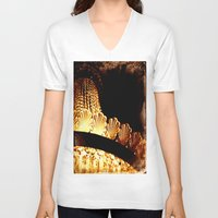 chandelier V-neck T-shirts featuring vintage chandelier by helene smith photography