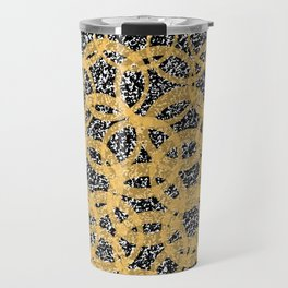 Abstract Beehive Yellow & Black Pattern Travel Mug