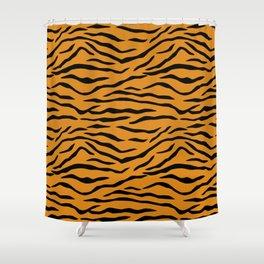 Orange and Black Tiger Stripes Shower Curtain