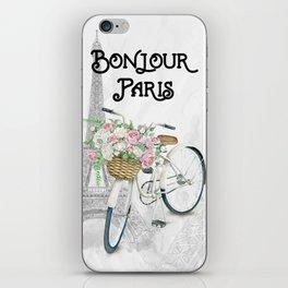Vintage Bicycle Bonjour Paris iPhone Skin