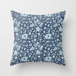 Blue Butterflies, Starfish and Flowers Throw Pillow