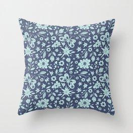 Blue Butterflies, Starfish and Flowers Throw Pillow