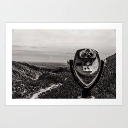 Mountain Tourist Binoculars Black and White Art Print