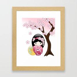 Japanese Spring Kokeshi Doll Framed Art Print
