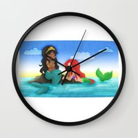 ouat Wall Clocks featuring OUAT - Mermaids by Choco-Minto
