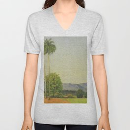 Date Palm Grove and Tropical Island Mountain Landscape with Palms by Domingo Ramos Unisex V-Neck