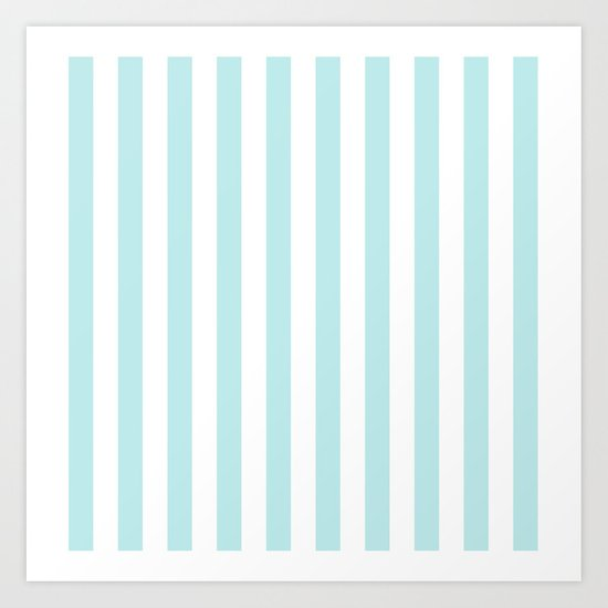 Striped- Turquoise vertikal stripes on white- Maritime Summer Beach Art Print