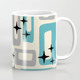 Retro Mid Century Modern Abstract Pattern 223 Blue and Gray Coffee Mug