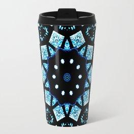 Blue Black Mosaic Kaleidoscope Mandala Travel Mug
