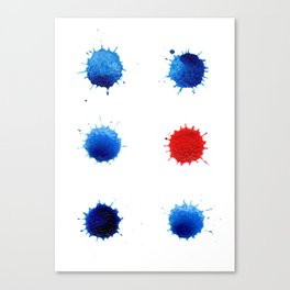 Watercolor splashes. Colorful watercolor blots. Canvas Print