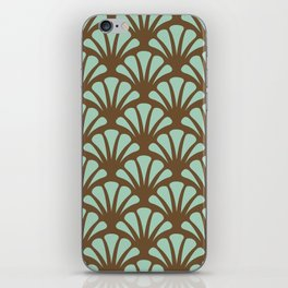 Brown and Mint Green Deco Fan iPhone Skin