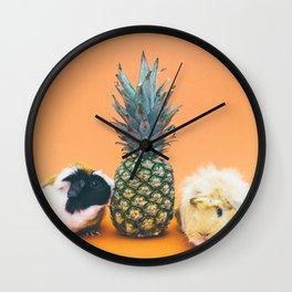 Pineapple Pigs Wall Clock