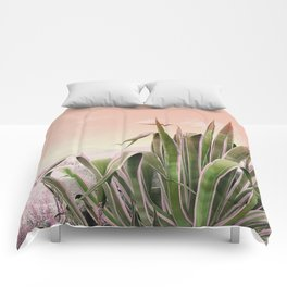 Agave in the Garden on Pastel Coral Comforters