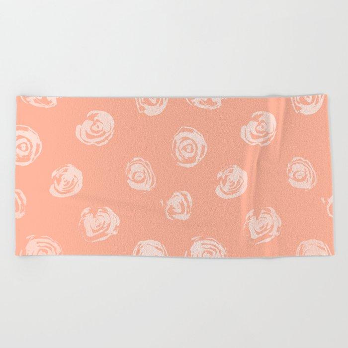 Sweet Life Rosebud Peach Coral Pink Beach Towel