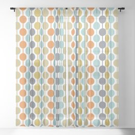 Retro Circles Mid Century Modern Background Sheer Curtain