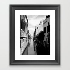 Venice canal in black and white 2 Framed Art Print
