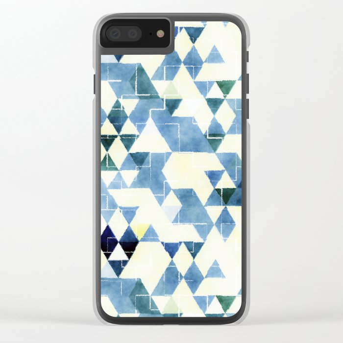 Abstract Blue Triangles, Watercolor Pattern Clear iPhone Case