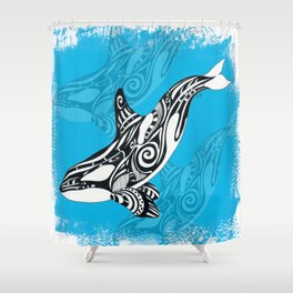 Orca Whale Spirit Blue Shower Curtain
