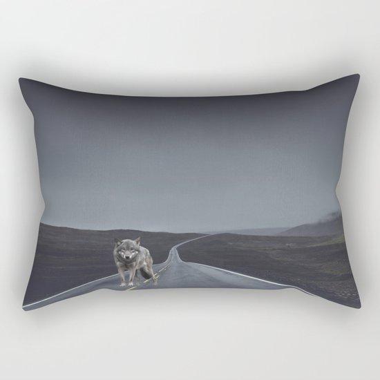 Road Wolf Rectangular Pillow